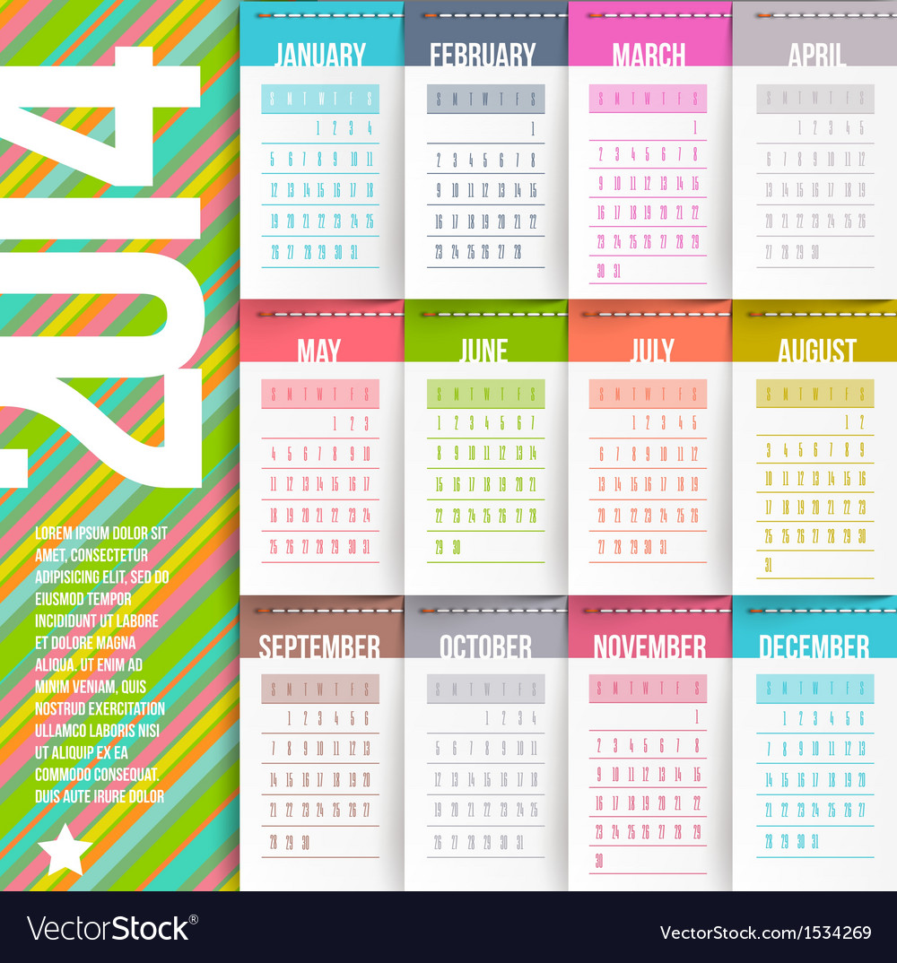 Calendar of 2014 with stitched labels vector | Price: 1 Credit (USD $1)