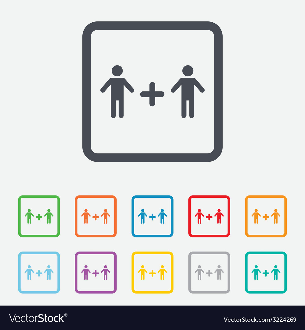 Couple sign icon male plus male gays vector | Price: 1 Credit (USD $1)