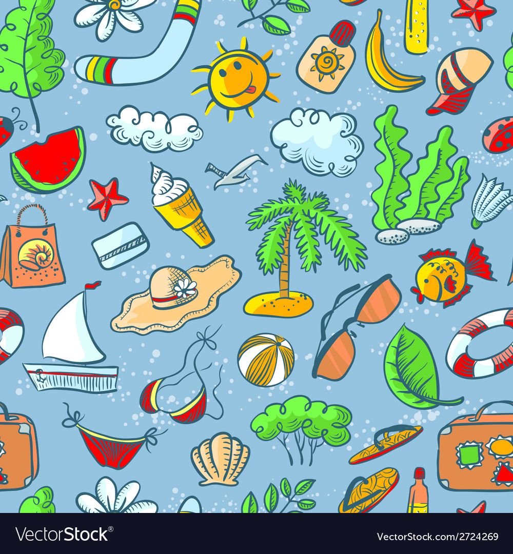 Doodle summer seamless vector | Price: 1 Credit (USD $1)