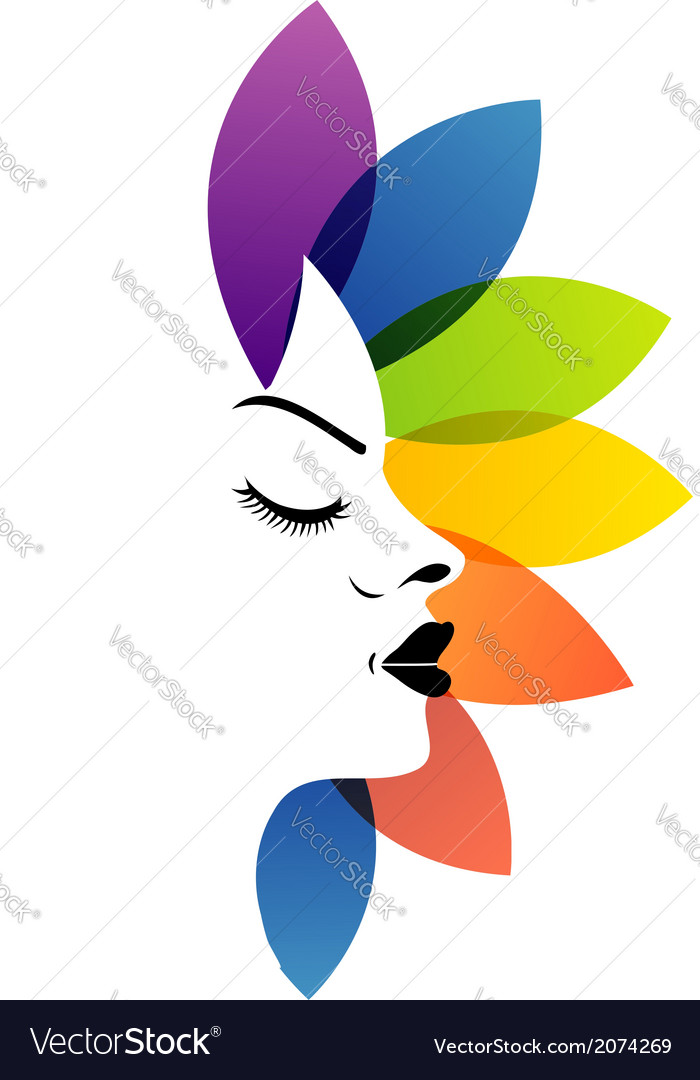 Face with colorful leaves- logo for aromatherapy vector | Price: 1 Credit (USD $1)