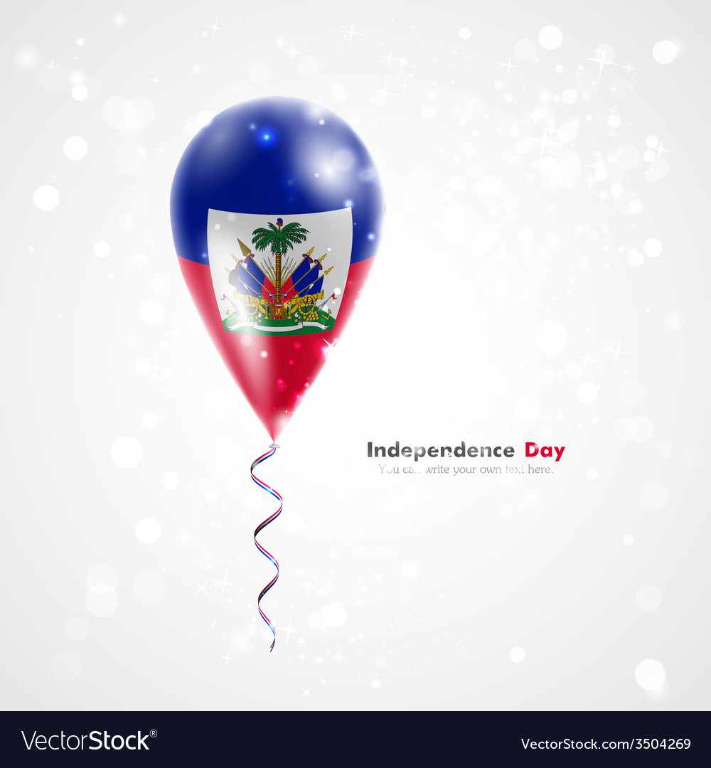 Flag of haiti on balloon vector | Price: 1 Credit (USD $1)