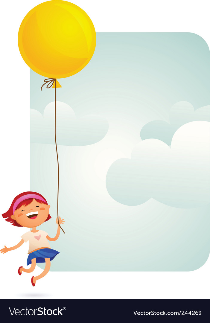 Girl with balloon vector | Price: 1 Credit (USD $1)
