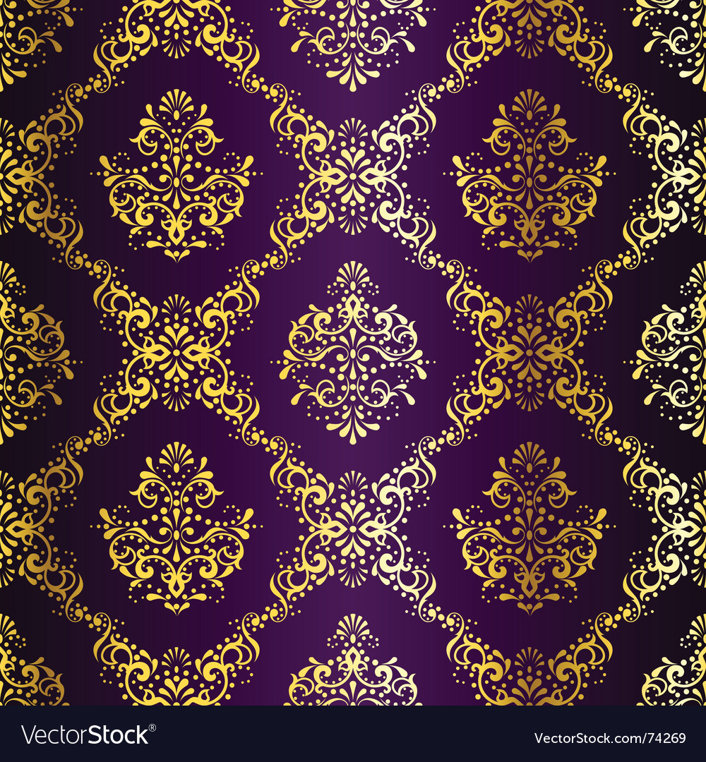 Gold-on-purple seamless vector | Price: 1 Credit (USD $1)