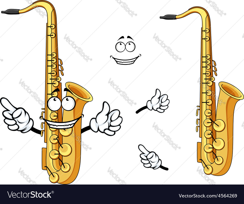 Happy cartoon saxophone instrument character vector | Price: 1 Credit (USD $1)