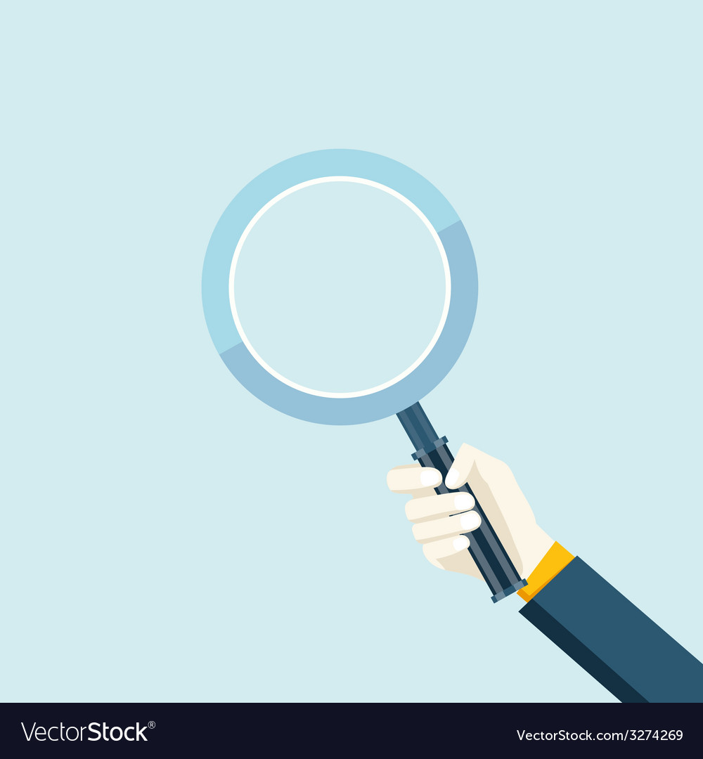 Magnifying glass in a hand vector | Price: 1 Credit (USD $1)