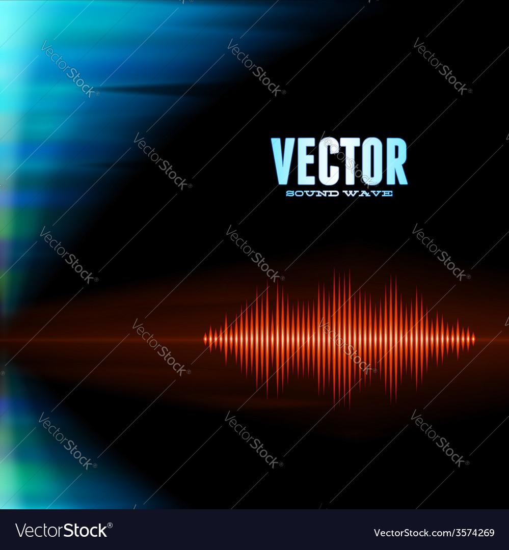 Orange sound waveform on polar lights background vector | Price: 1 Credit (USD $1)