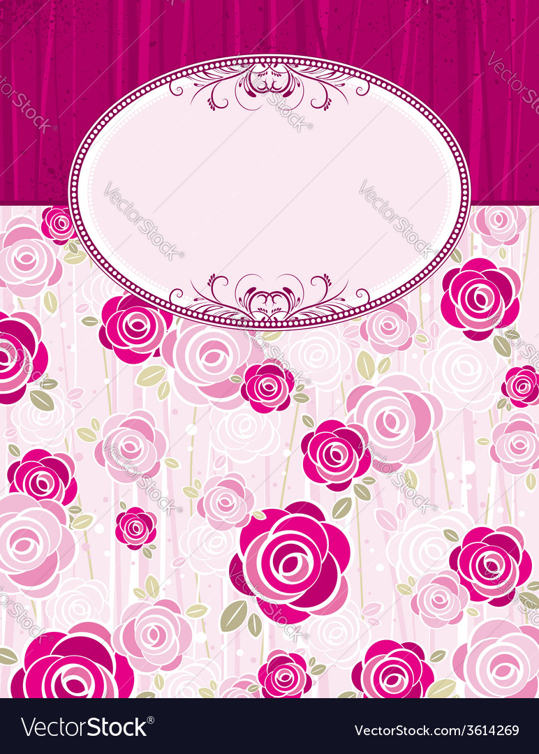 Pink valentine background with roses vector | Price: 1 Credit (USD $1)