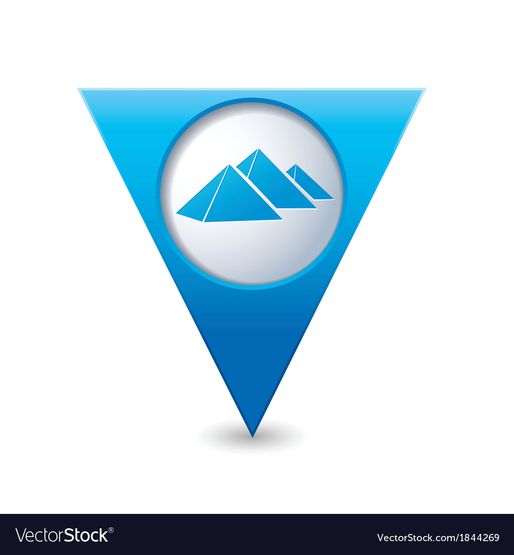 Pyramid icon on map pointer blue vector | Price: 1 Credit (USD $1)