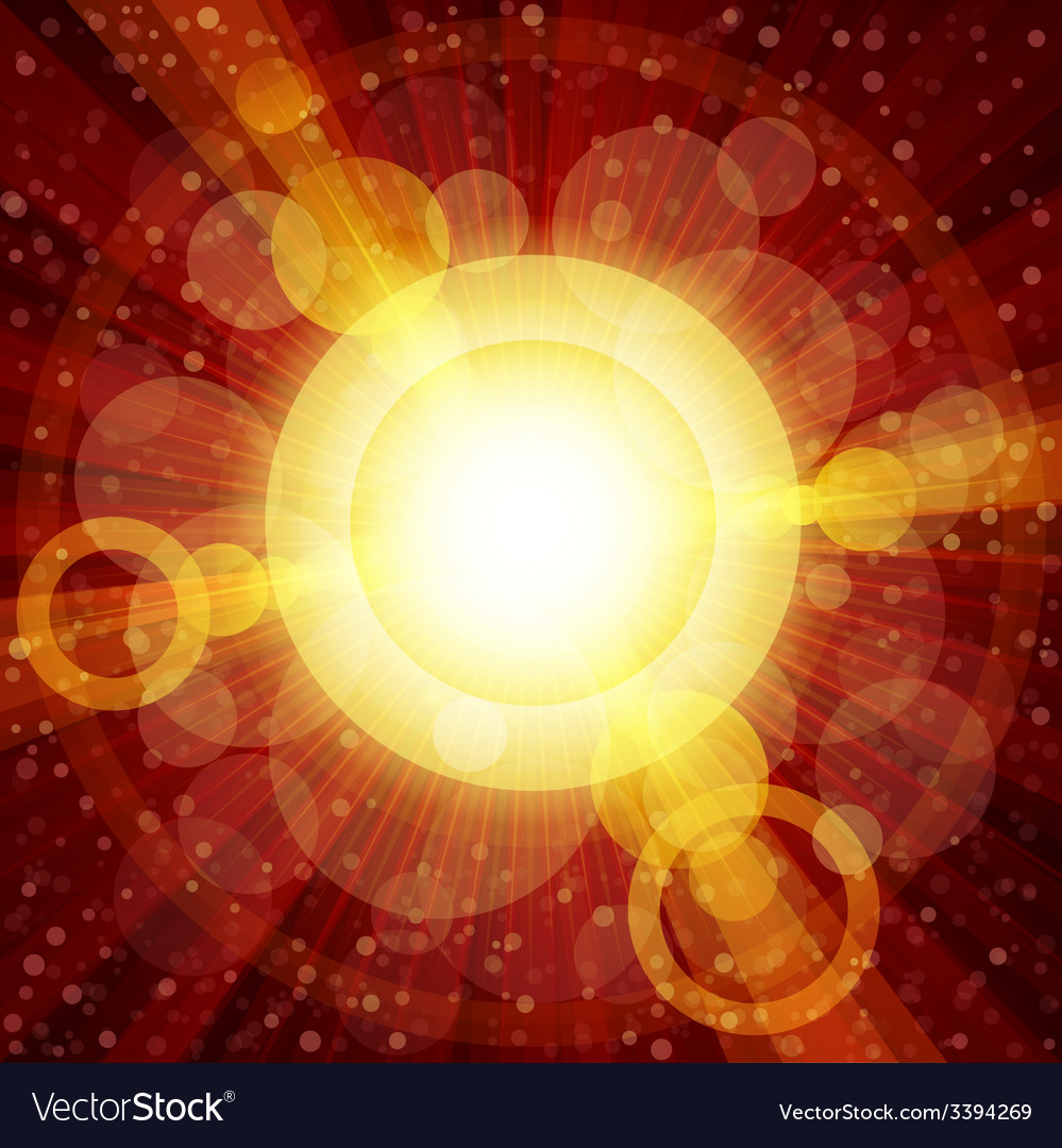 Red and orange colorful burst of light with lens vector | Price: 1 Credit (USD $1)