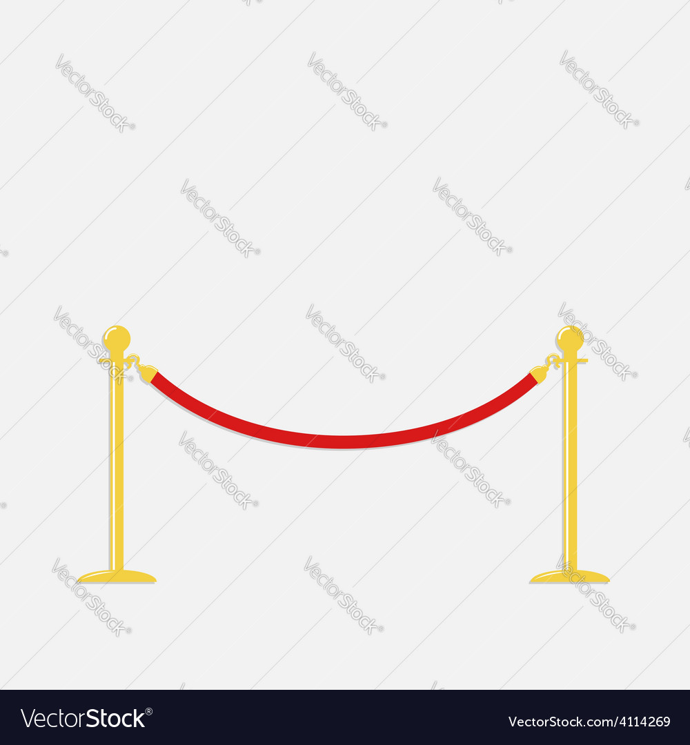 Red rope barrier golden stanchions turnstile vector | Price: 1 Credit (USD $1)