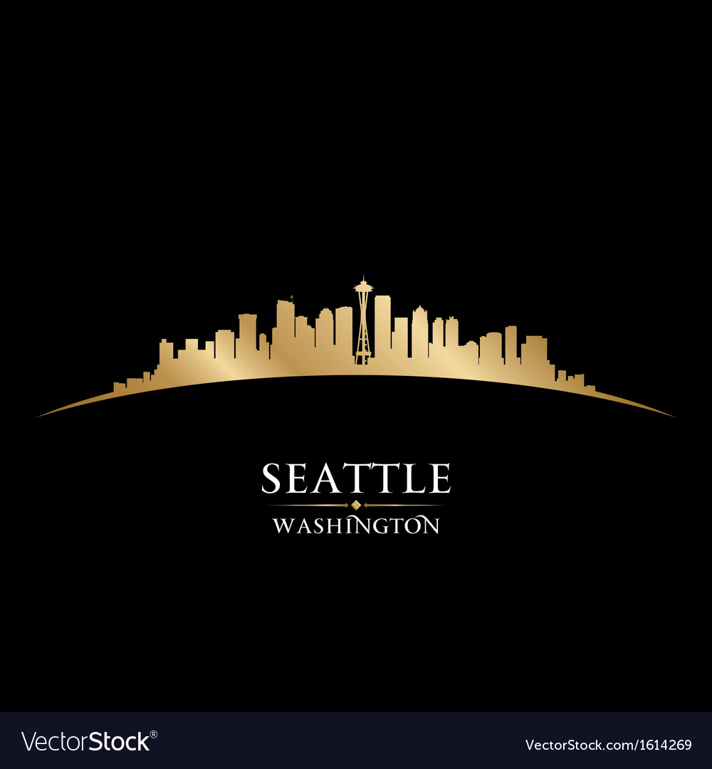 Seattle washington city skyline silhouette vector | Price: 1 Credit (USD $1)