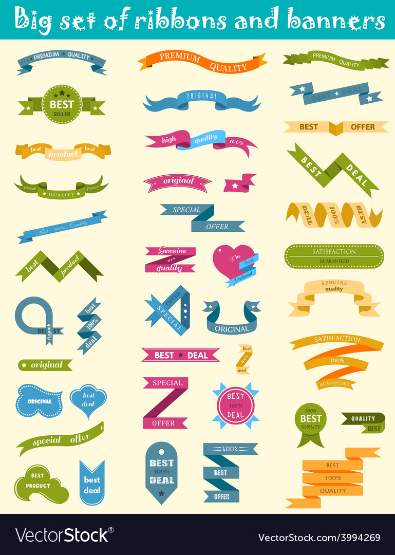 Set of labels stickers and ribbons vector | Price: 1 Credit (USD $1)