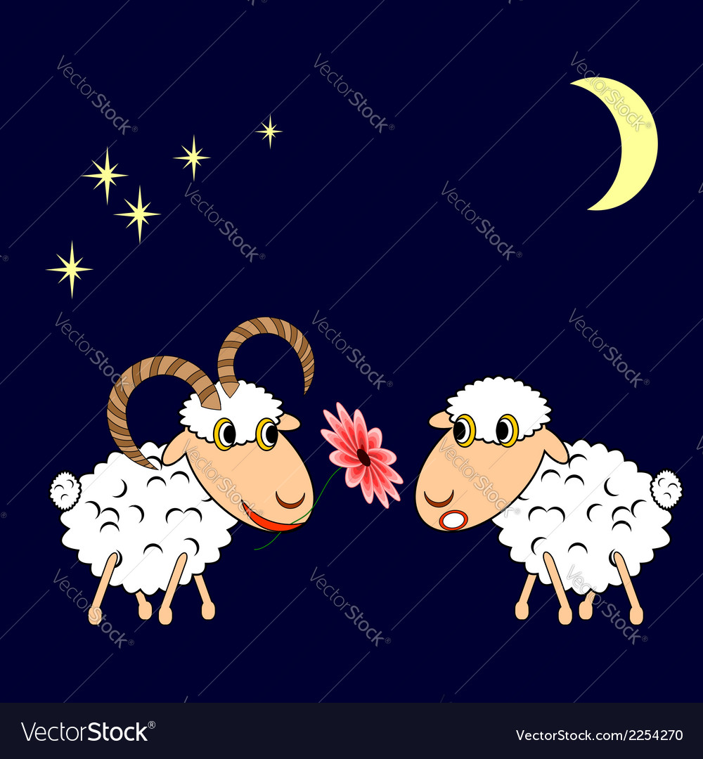 A ram presenting a sheep a flower vector   Price: 1 Credit (USD $1)