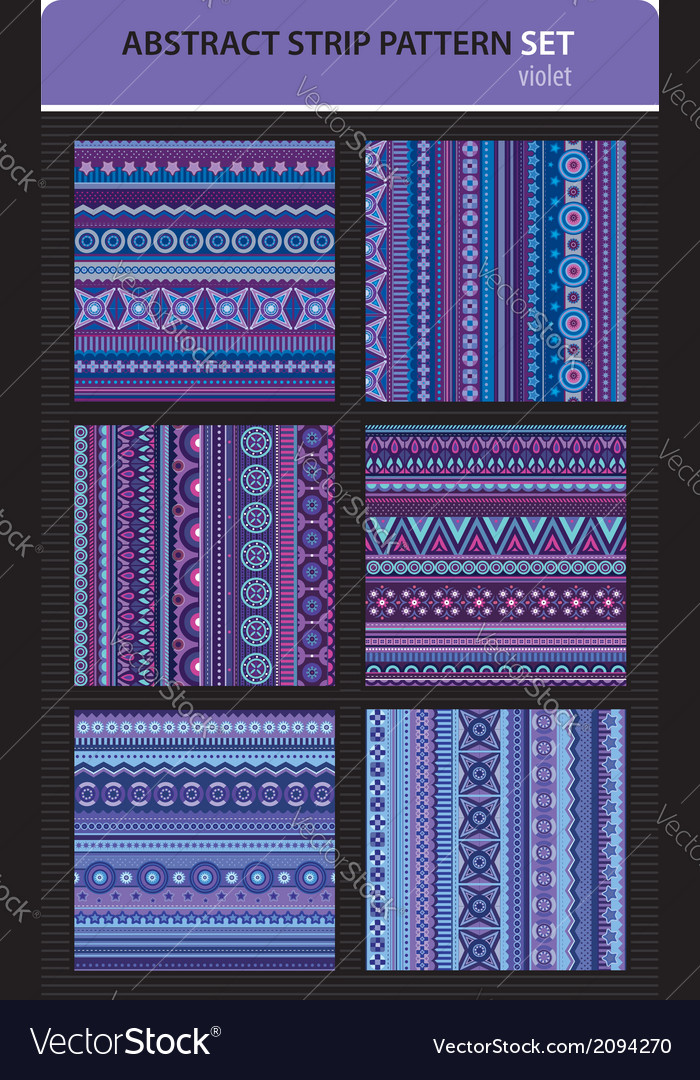 Abstract strip pattern set violet colors vector | Price: 1 Credit (USD $1)