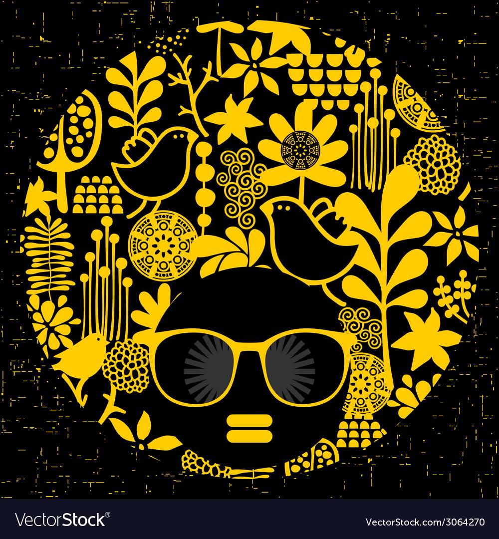 Black head woman in retro sunglasses vector | Price: 1 Credit (USD $1)