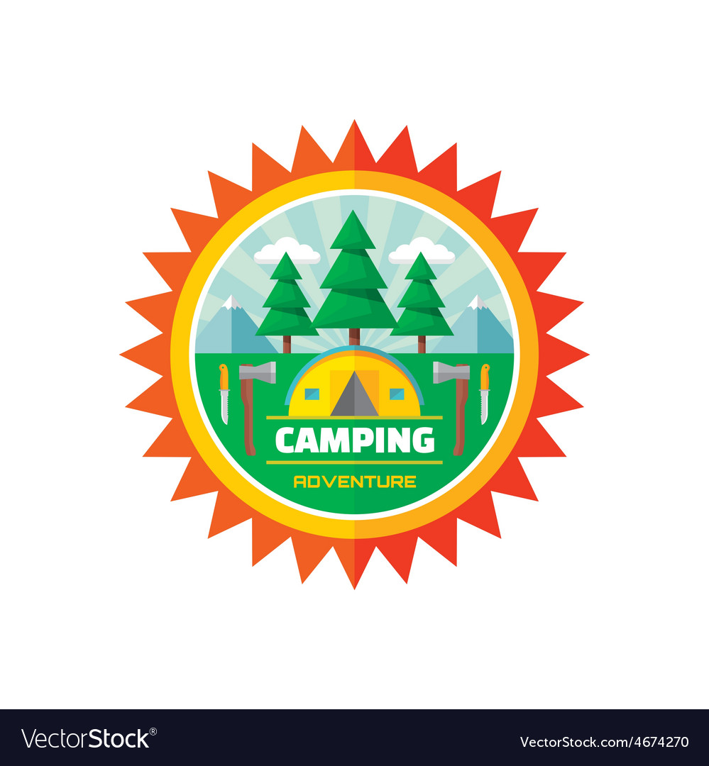 Camping adventure - badge vector | Price: 1 Credit (USD $1)