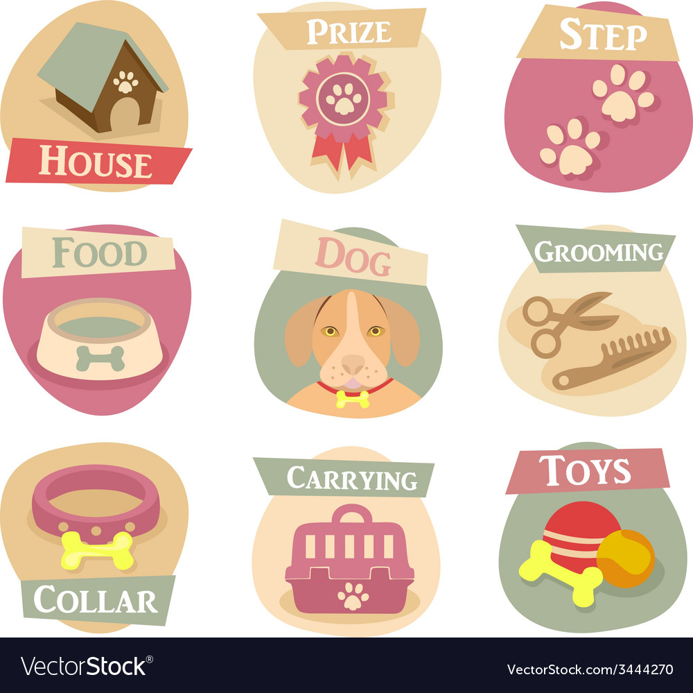 Dog life flat icons vector | Price: 1 Credit (USD $1)