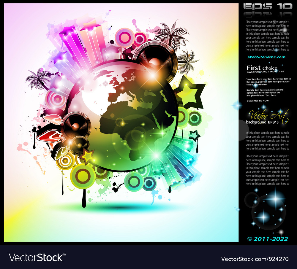 Global party poster vector | Price: 3 Credit (USD $3)