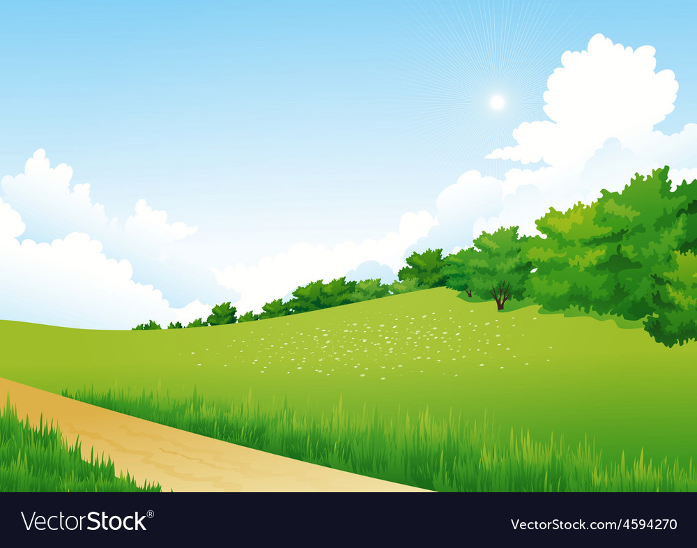Green landscape with trees clouds flowers vector | Price: 3 Credit (USD $3)