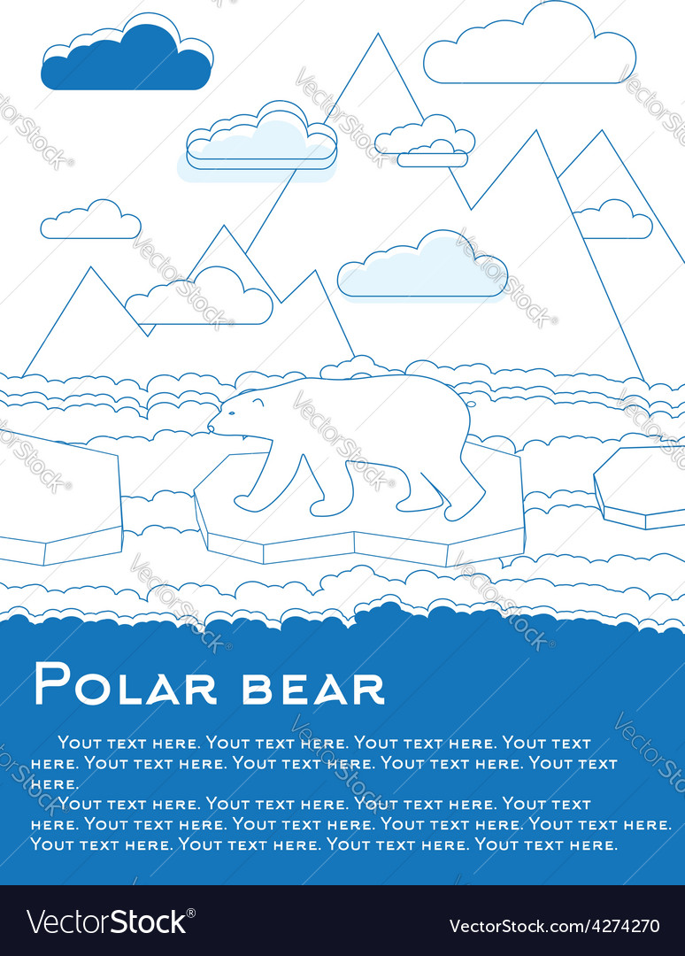 Polar bear on an ice floe in ocean vector | Price: 1 Credit (USD $1)