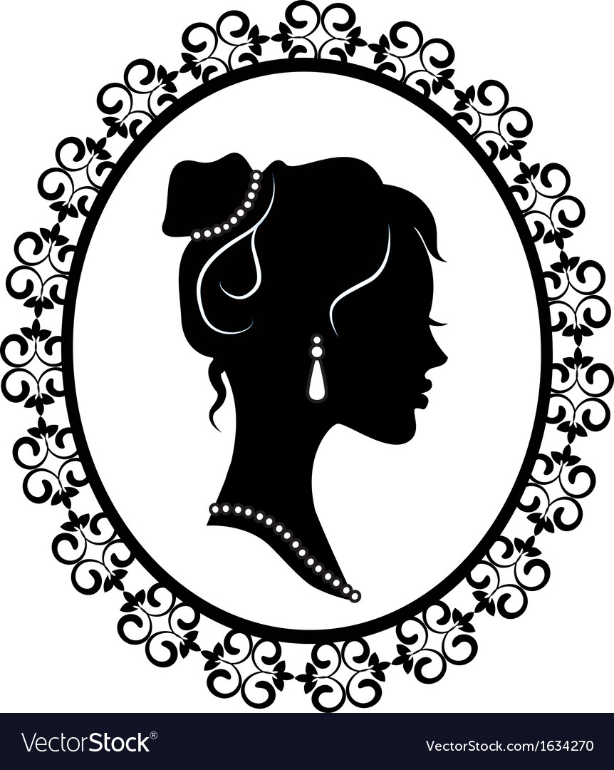 Retro silhouette profile of a young girl vector | Price: 1 Credit (USD $1)