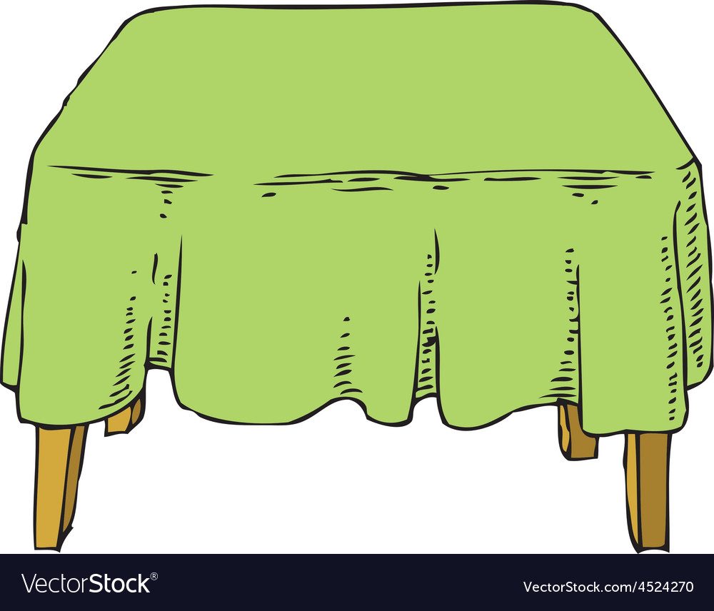 Table with green tablecloth vector | Price: 1 Credit (USD $1)