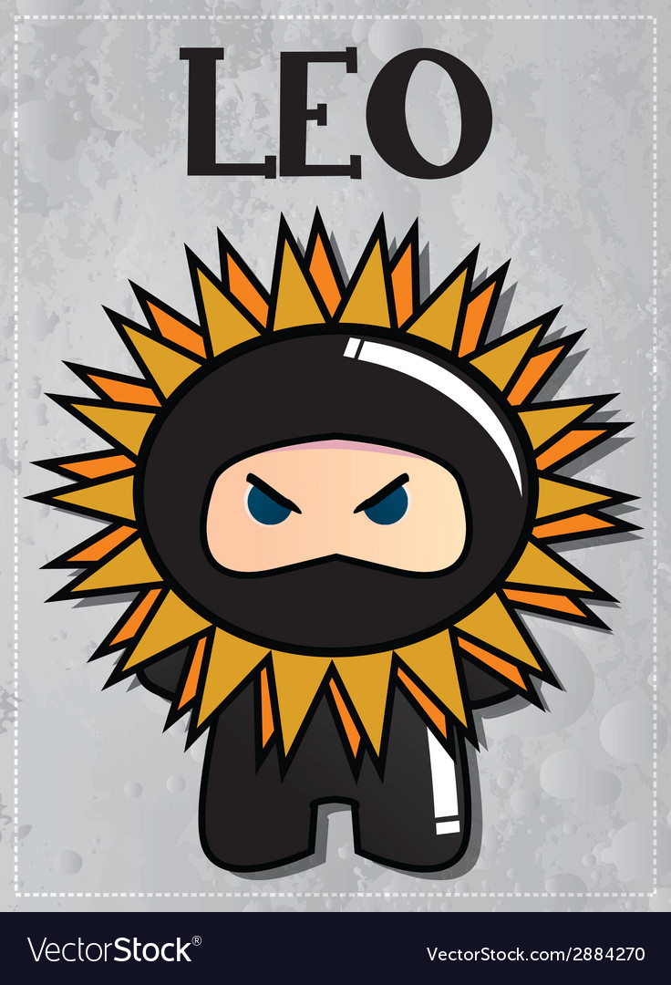 Zodiac sign leo with cute black ninja character vector | Price: 1 Credit (USD $1)
