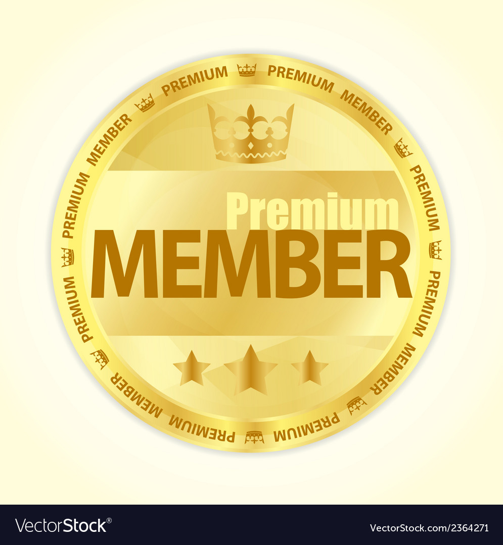 Badge with title premium member in gold color vector | Price: 1 Credit (USD $1)