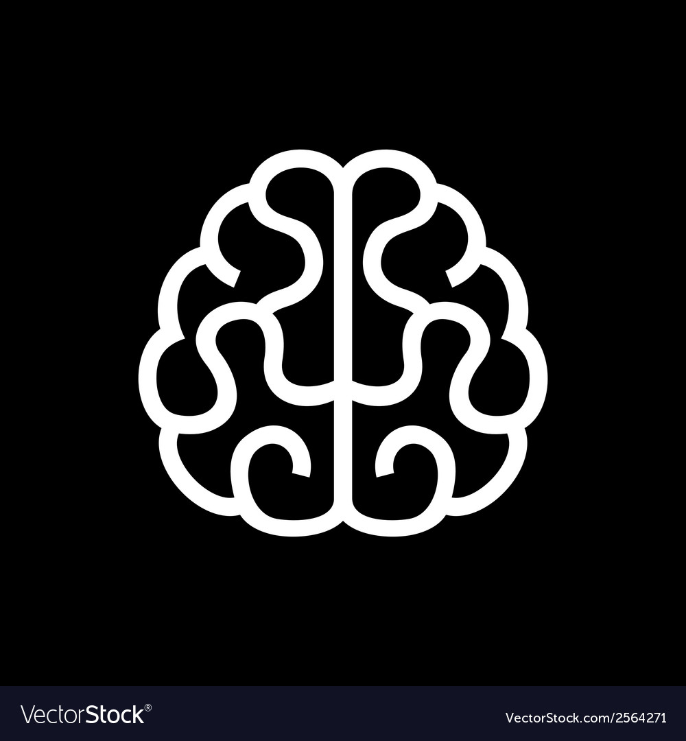 Brain icon on black background vector | Price: 1 Credit (USD $1)