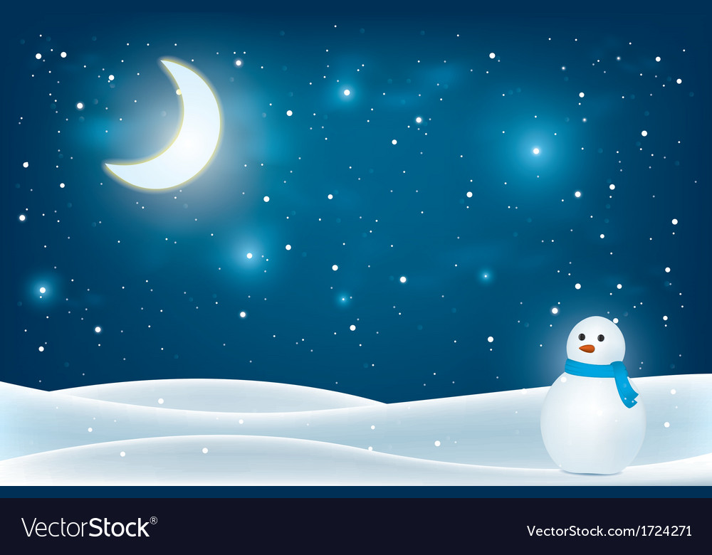 Christmas night landscape vector | Price: 1 Credit (USD $1)