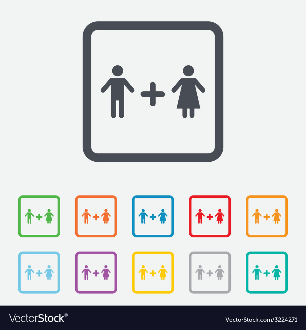 Couple sign icon male plus female lovers vector | Price: 1 Credit (USD $1)