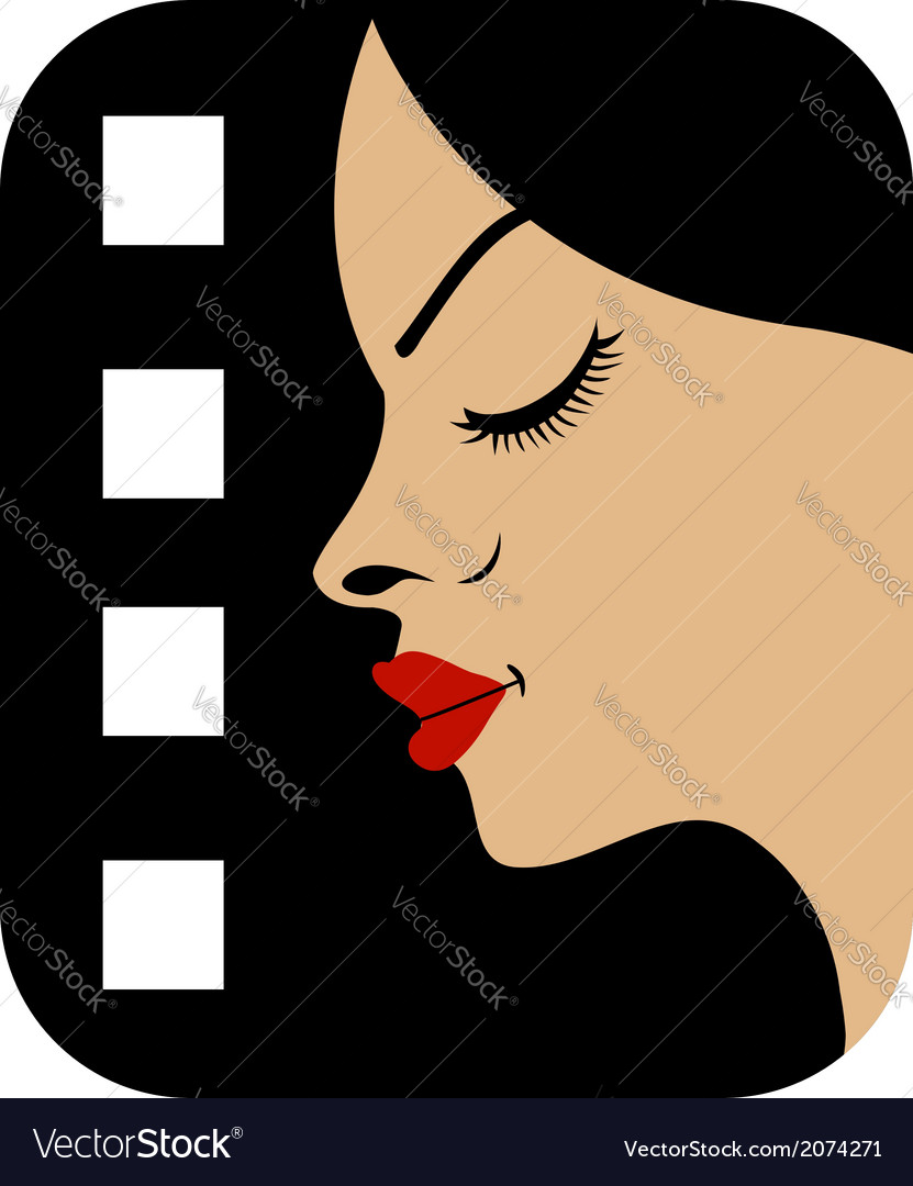 Filmstrip with side view of a woman vector | Price: 1 Credit (USD $1)