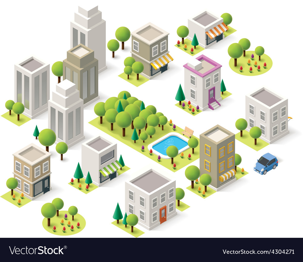 Isometric city buildings set vector | Price: 1 Credit (USD $1)
