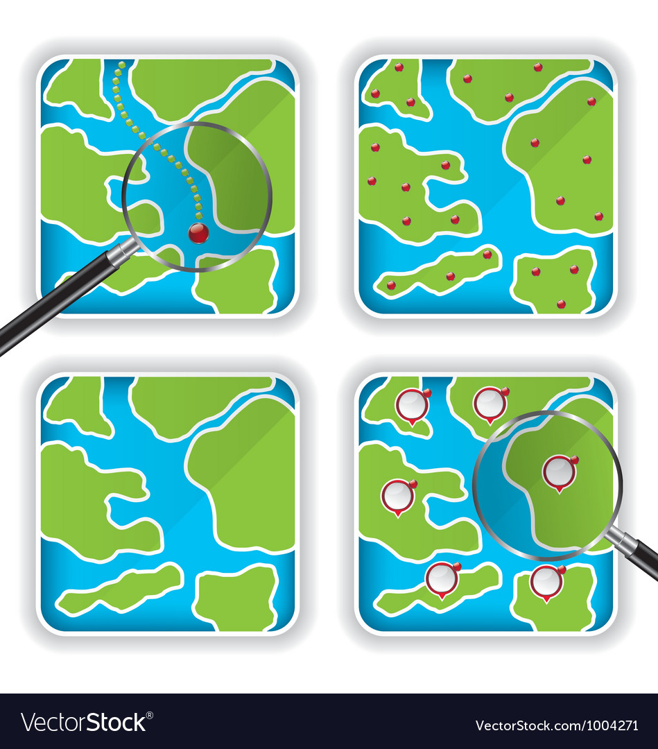 Map icons and magnifying glass vector | Price: 1 Credit (USD $1)