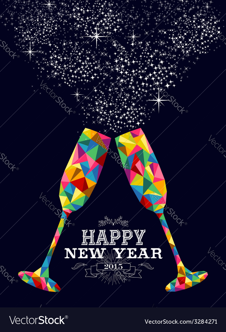 New year 2015 color glass greeting card vector | Price: 1 Credit (USD $1)