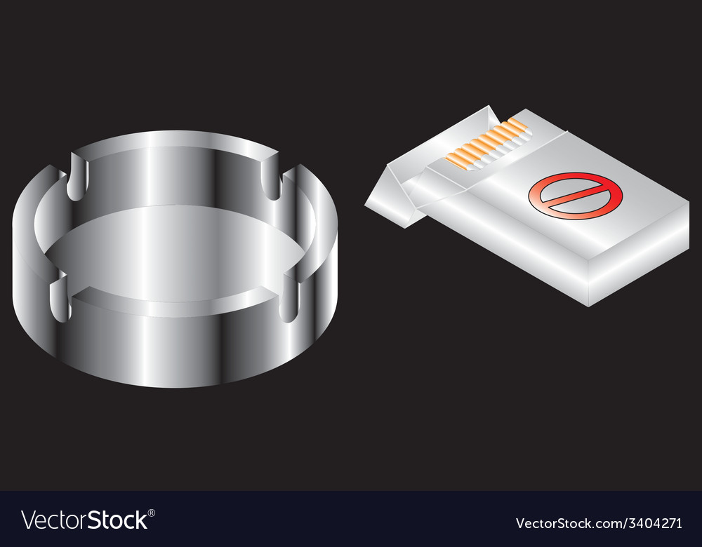 Pack of cigarettes and ashtray vector | Price: 1 Credit (USD $1)