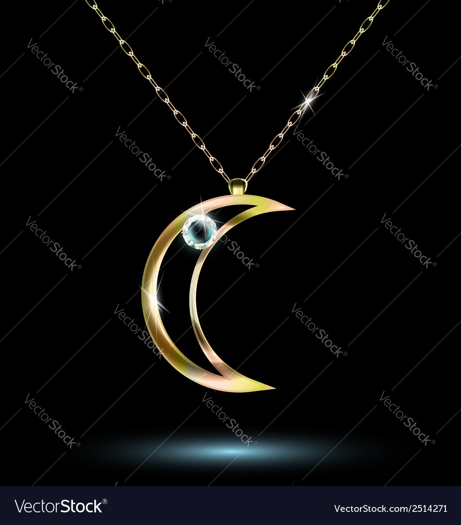 Pendant with a large crescent vector | Price: 1 Credit (USD $1)