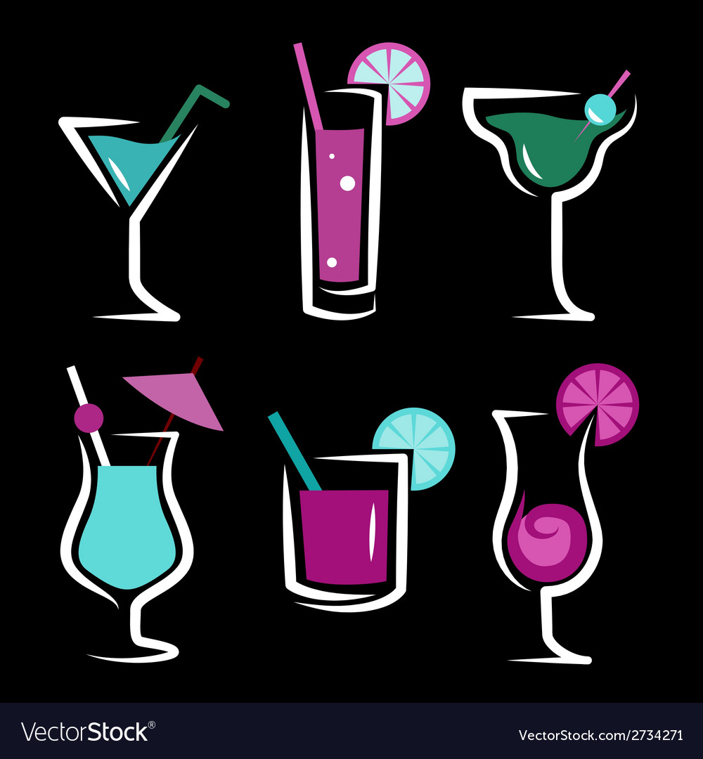 Set of cocktails soft and long-drinks vector | Price: 1 Credit (USD $1)