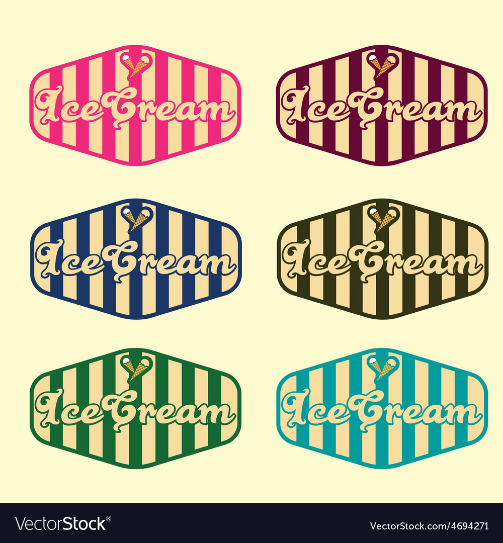 Set of vintage ice cream labels vector | Price: 1 Credit (USD $1)