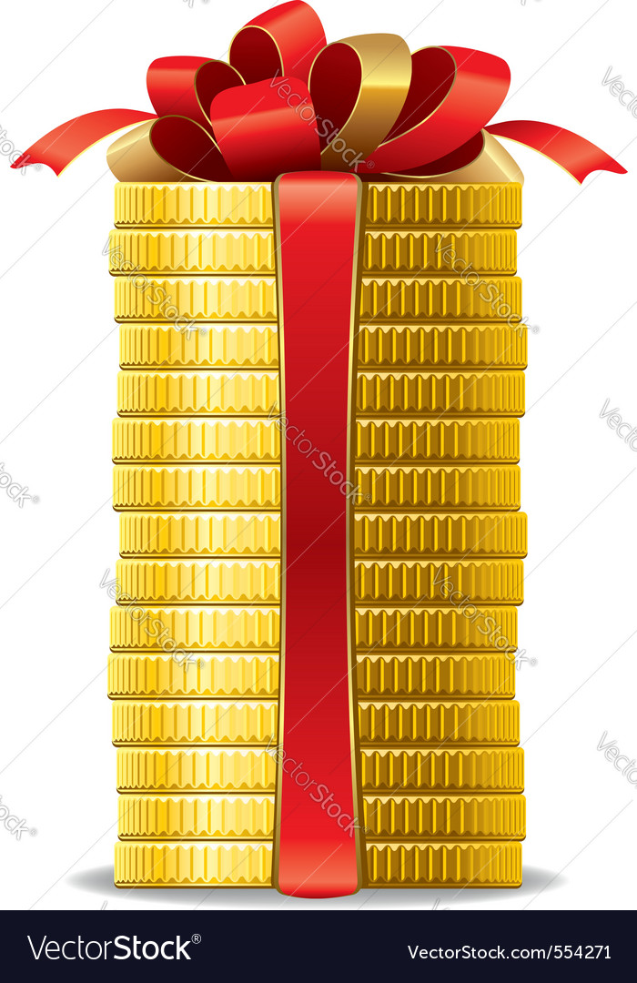 Stack of coins with a red bow concept of pecuniary vector | Price: 1 Credit (USD $1)
