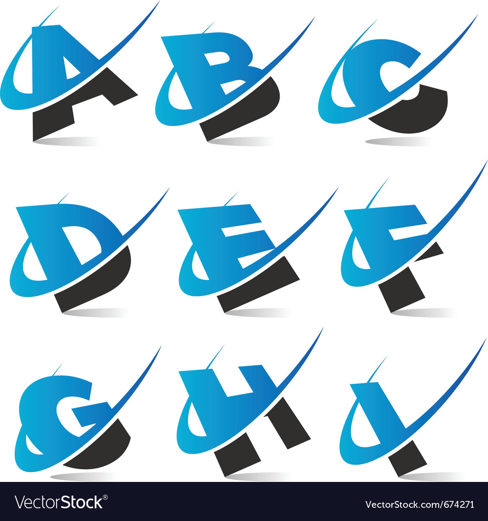 Swoosh alphabet logo set 1 vector | Price: 1 Credit (USD $1)