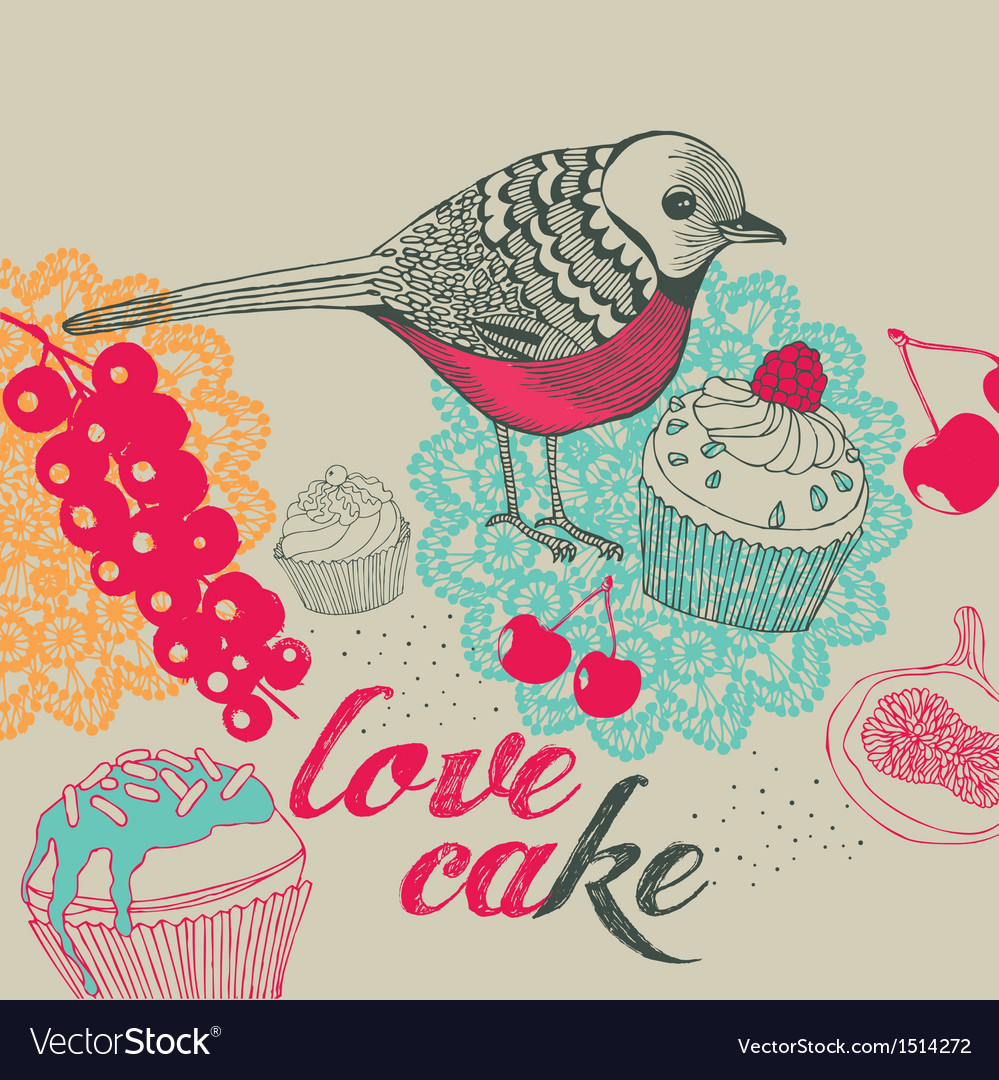 Bird and cakes vector | Price: 3 Credit (USD $3)