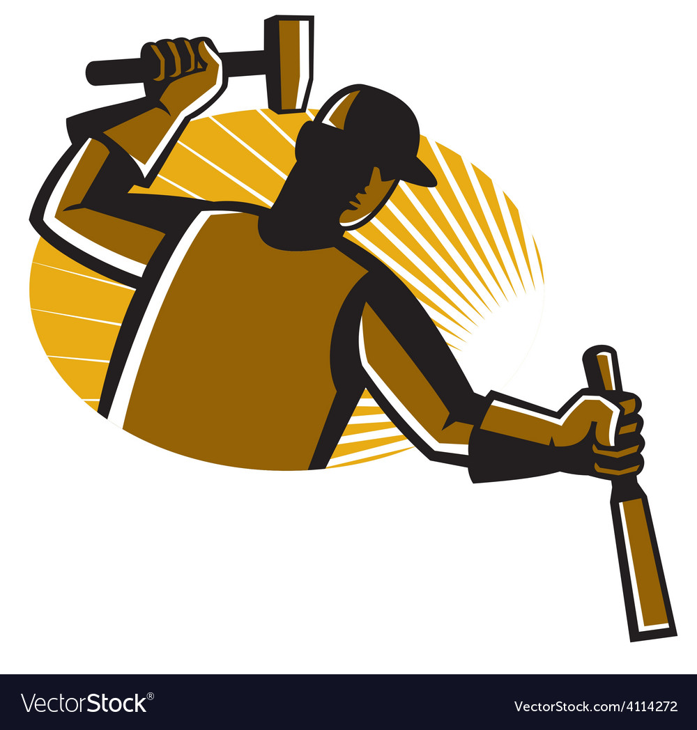 Carpenter worker with hammer and chisel vector | Price: 1 Credit (USD $1)