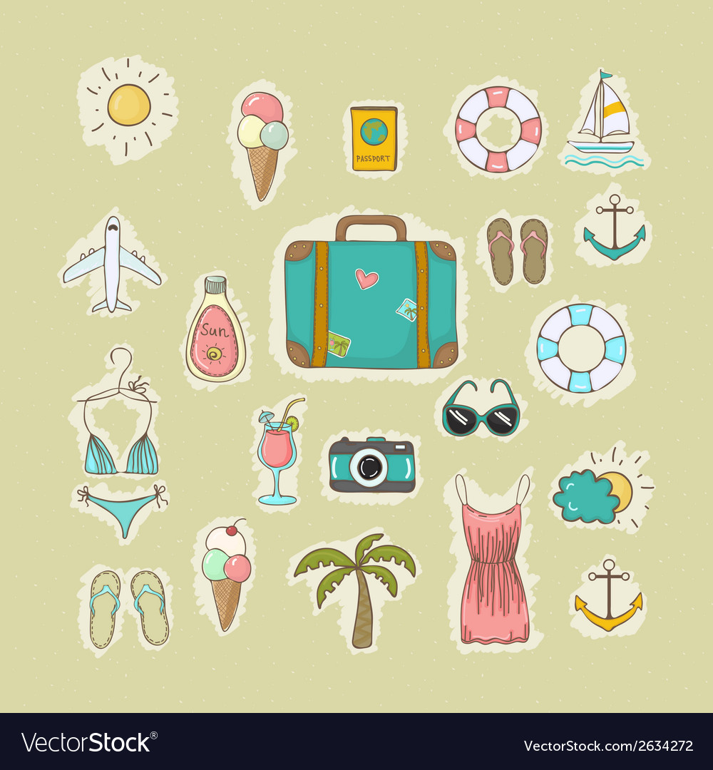 Collection of icons on vacation vector | Price: 1 Credit (USD $1)