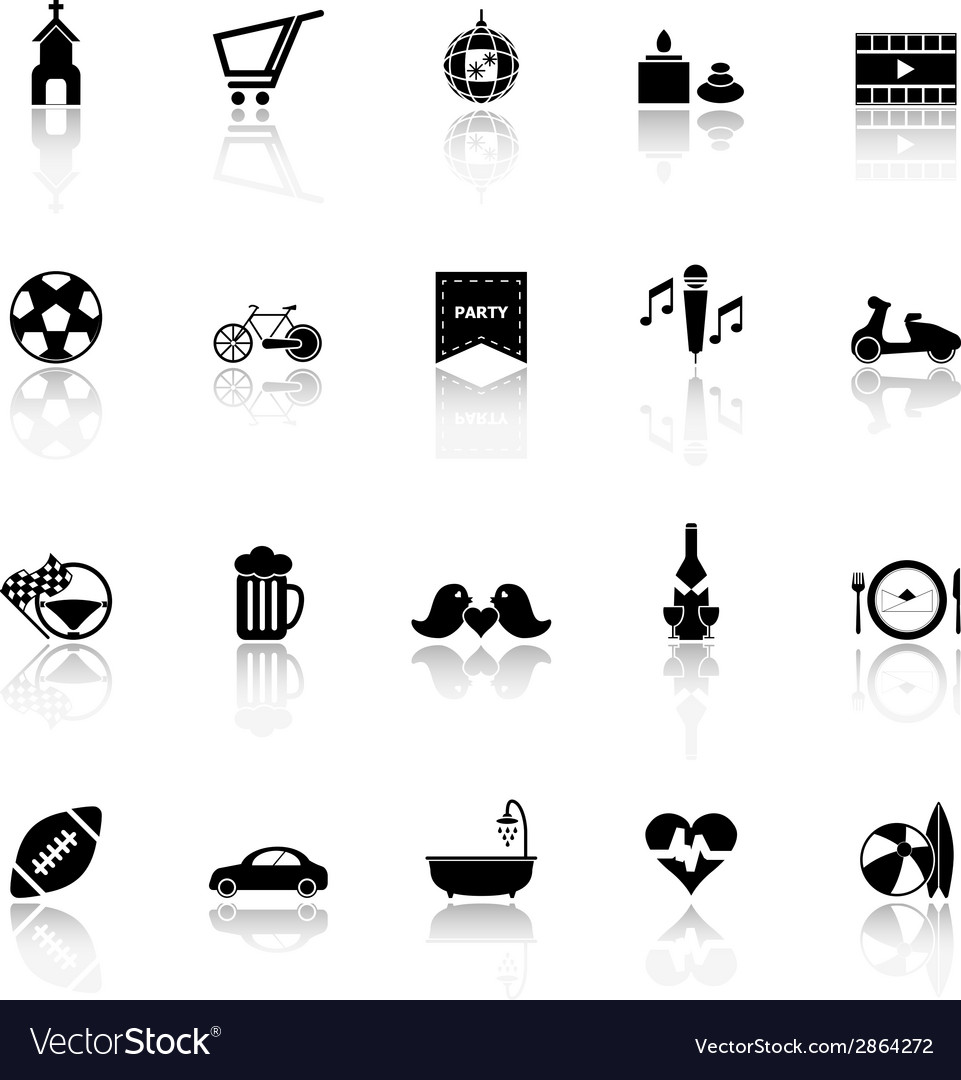 Friday and weekend icons with reflect on white vector | Price: 1 Credit (USD $1)