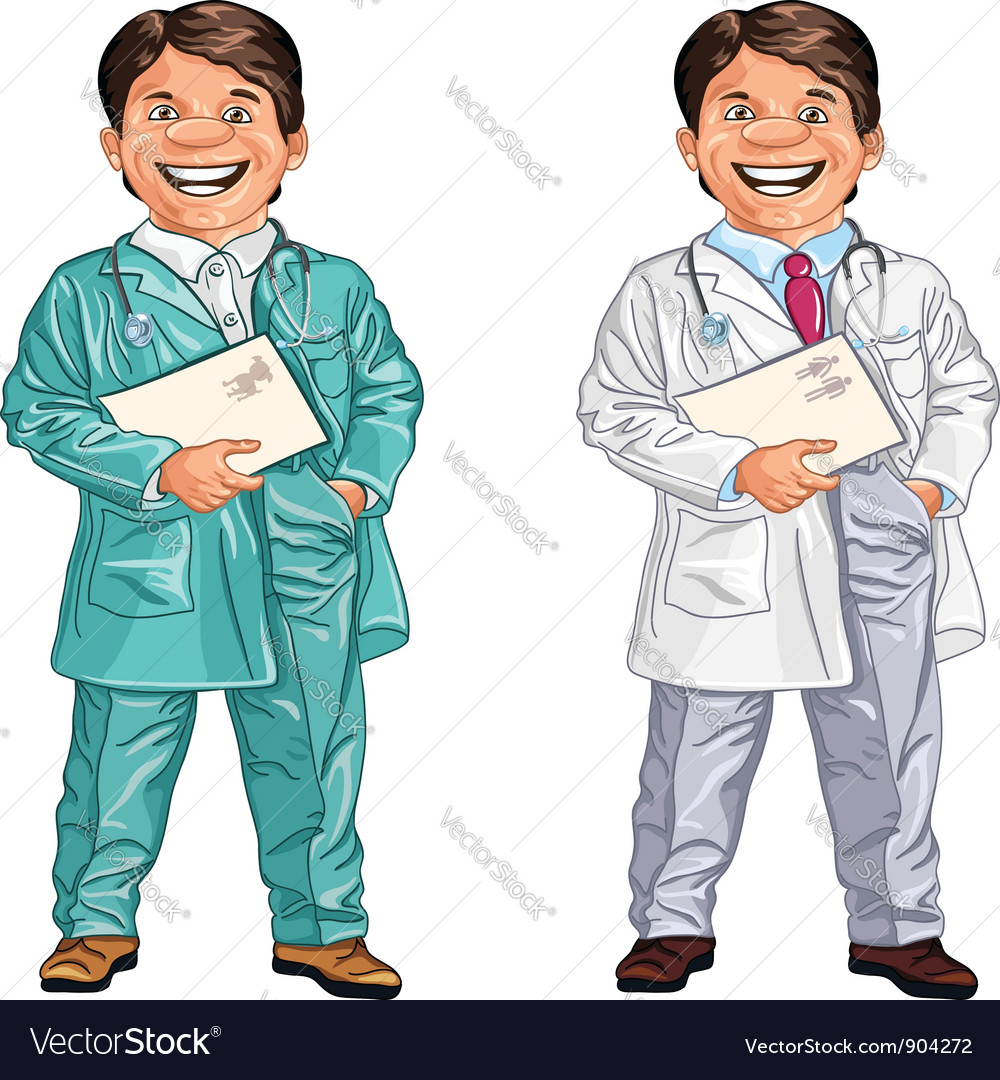 Happy doctor and a veterinarian smiles vector | Price: 3 Credit (USD $3)