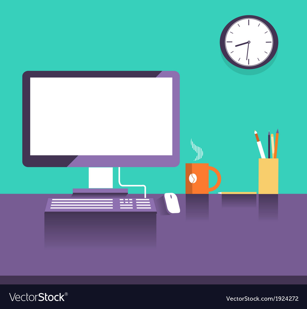Interior office placeflat design style vector | Price: 1 Credit (USD $1)