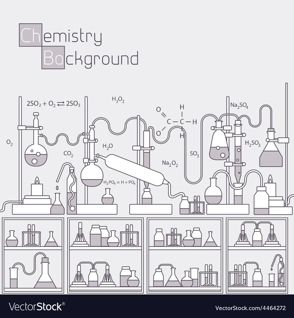 Thin lines outline experiments in a chemistry vector | Price: 1 Credit (USD $1)