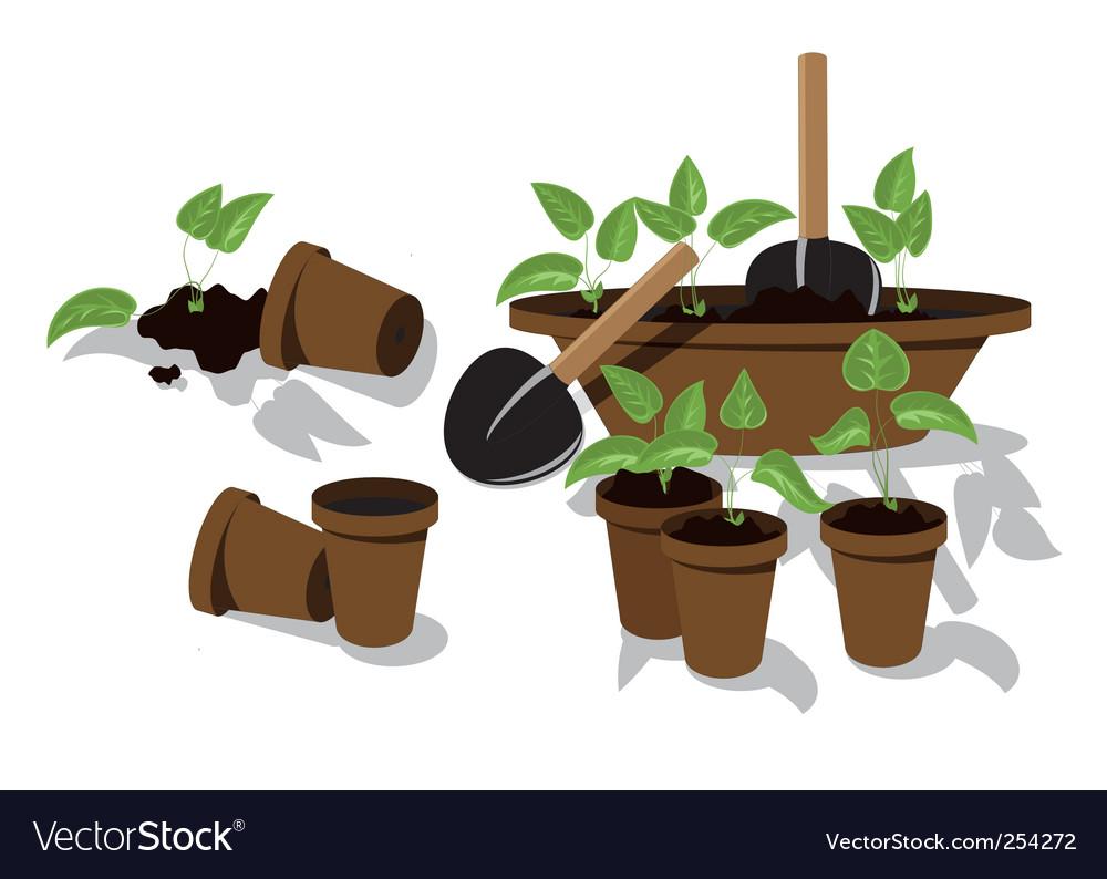 Transplanting flower seedlings vector | Price: 1 Credit (USD $1)
