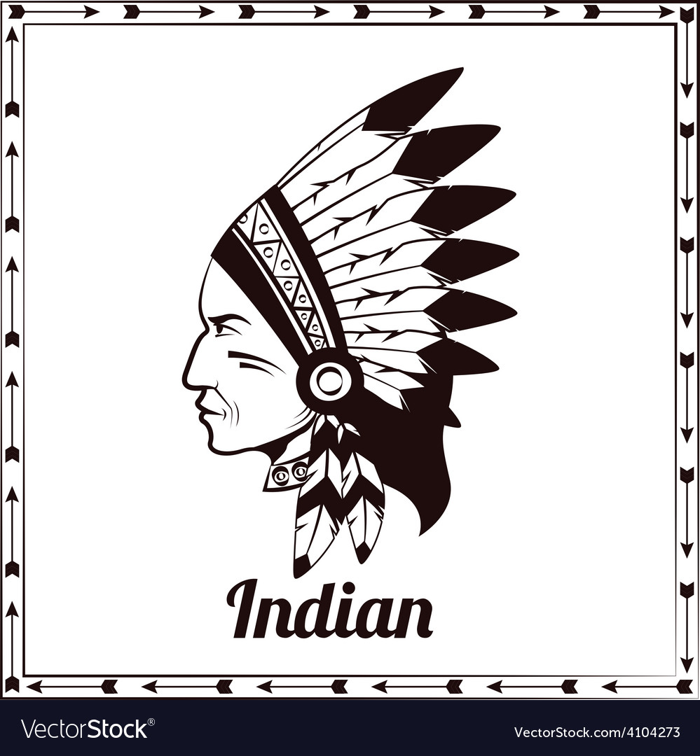 American indian chieftain black sketch vector | Price: 1 Credit (USD $1)